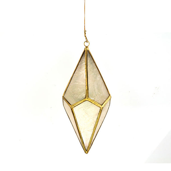 Diamond Shaped Christmas Ornament - Brass