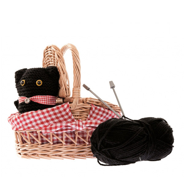 Egmont Toys Knitting Kit Cat In A Wicker Basket