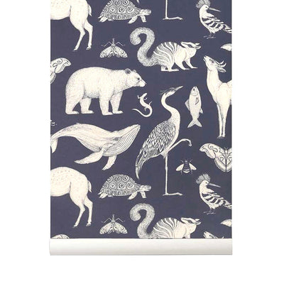 Ferm Living Kids Katie Scott Wallpaper - Animals - Blue