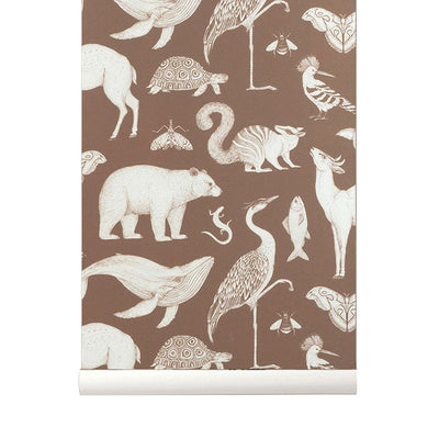 Ferm Living Kids Katie Scott Wallpaper - Animals - Toffee