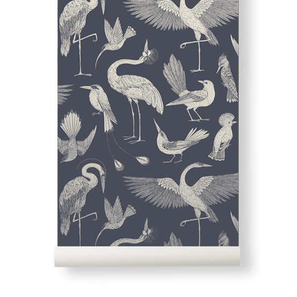 Ferm Living Katie Scott Wallpaper - Birds - Dark Blue