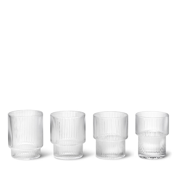 Ferm Living Ripple Glasses (Set of 4) - Clear