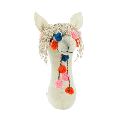 Fiona Walker Semi Animal Head – Cream Llama with Bridle