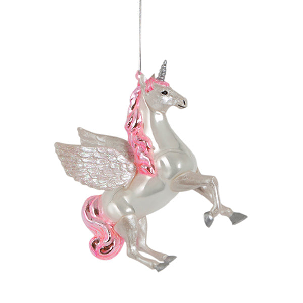 Glass Shaped Christmas Bauble - Flying Unicorn