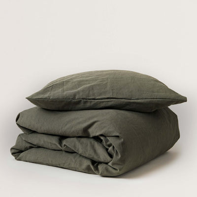 Garbo and Friends Linen Duvet Cover Set – Moss
