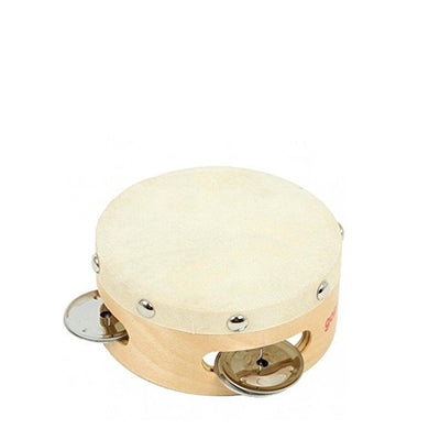 Goki Tambourine with Drumhead and 3 Bells - Goki | Elenfhant
