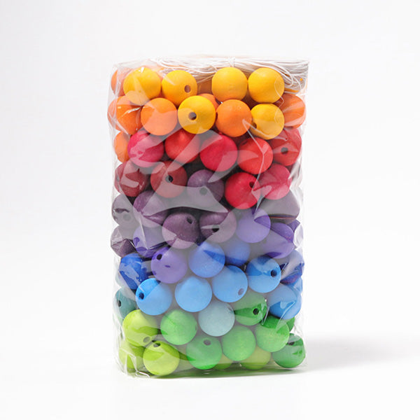 Grimm's Rainbow Wooden Beads 20mm - 180 pieces