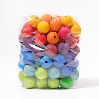 Grimm's Rainbow Wooden Beads Large 30mm - 96 pieces