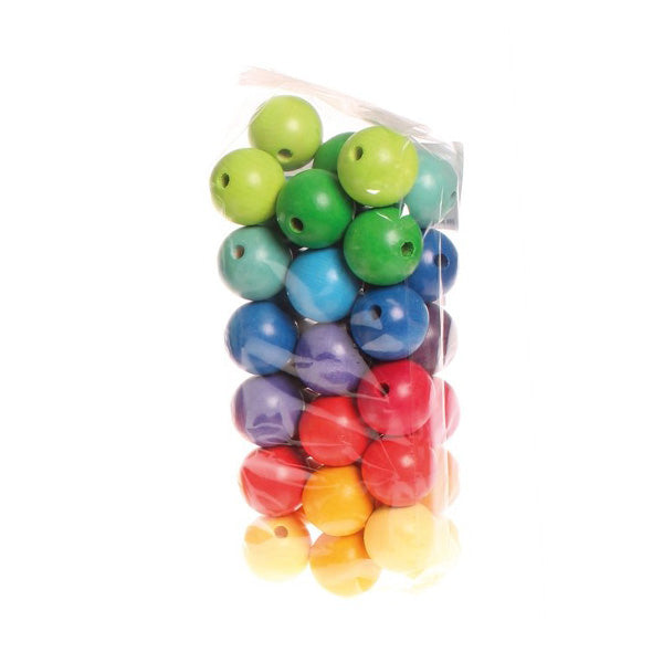 Grimm's Rainbow Wooden Beads 30mm - 36 pieces