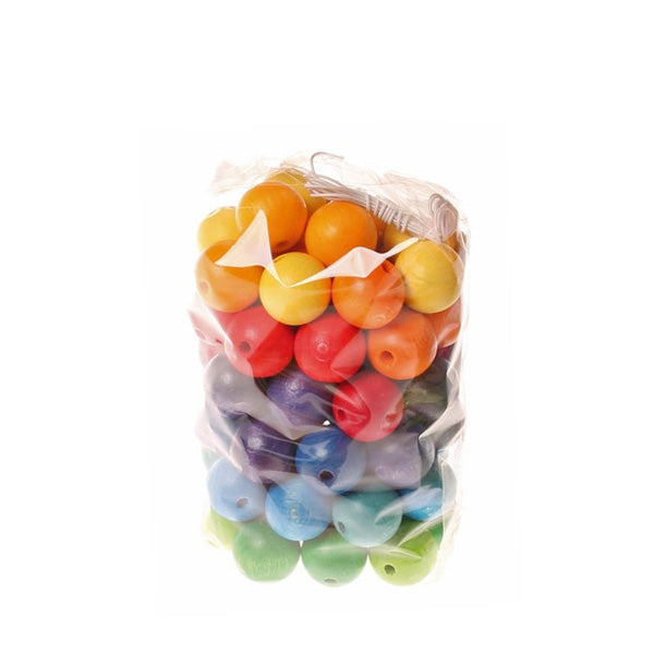 Grimm's Rainbow Wooden Beads 20mm - 60 pieces