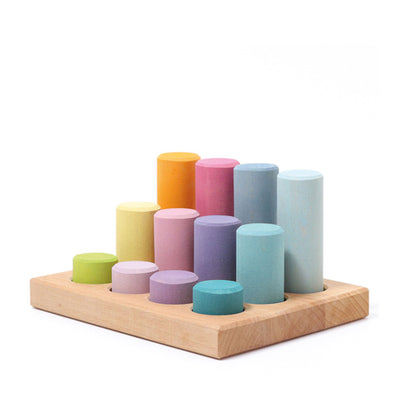 Grimm's Stacking Game Small Rollers - Pastel