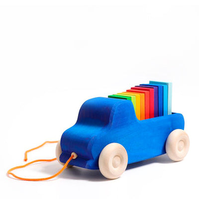 Grimm's Pull Along Toy - Truck Blue
