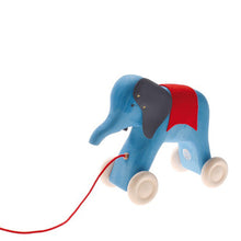 Grimm's Pull Along Toy - Elephant Blue