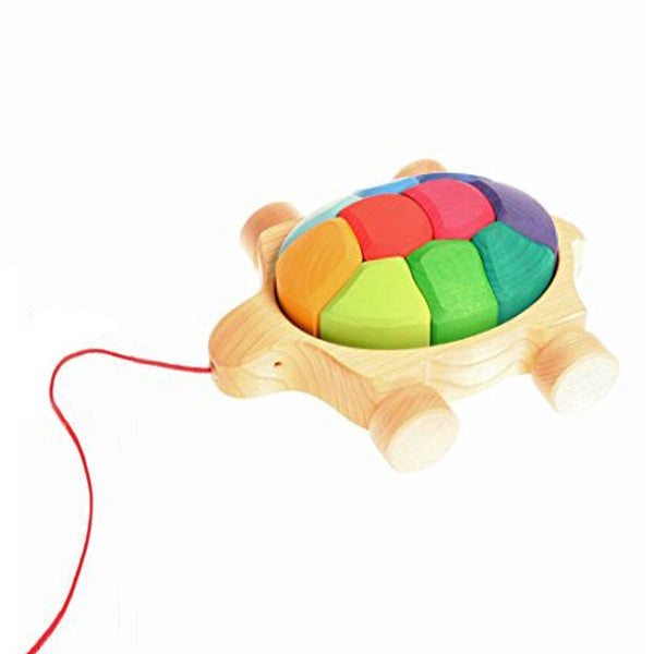 Grimm's Pull Along Toy – Rainbow Turtle