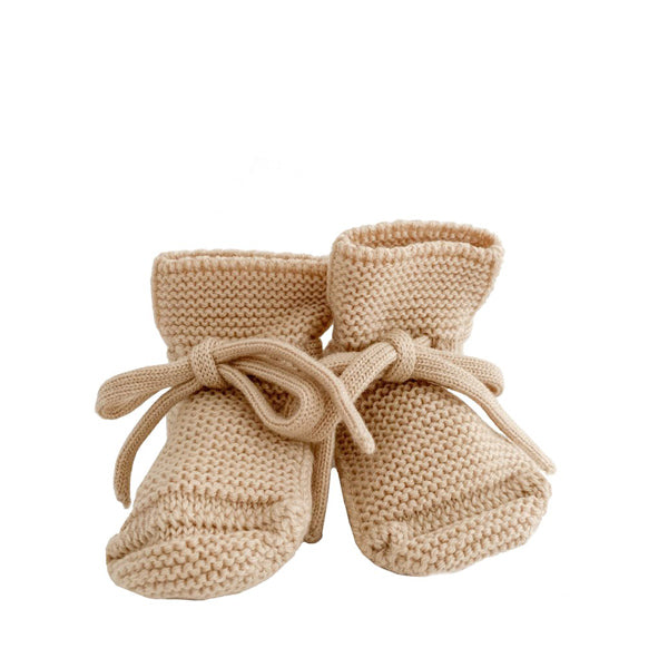 Hvid Knitted Booties – Oat