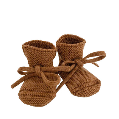 Hvid Knitted Booties – Rust