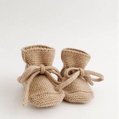 Hvid Knitted Booties – Sand