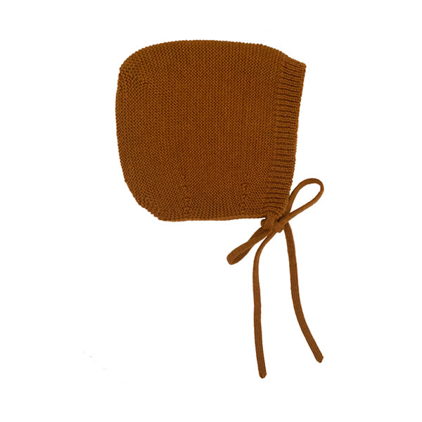 Hvid Knitted Bonnet Dolly - Rust