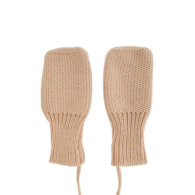 Hvid Knitted Mittens - Apricot