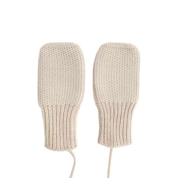 Hvid Knitted Mittens - Off White