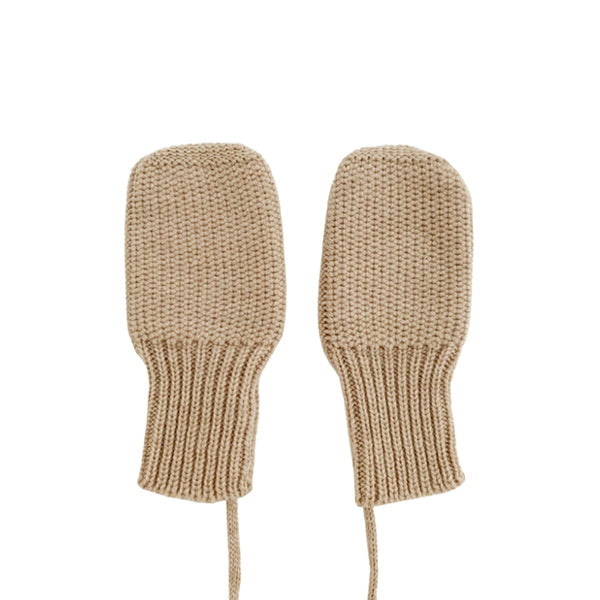 Hvid Knitted Mittens - Sand