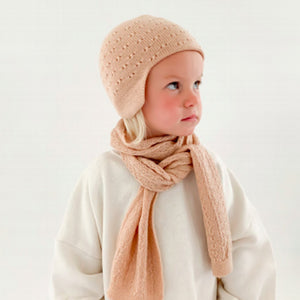 Hvid Knitted Scarf Eduart - Apricot