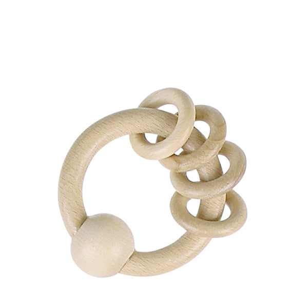 Heimess Nature Wooden Ring Rattle - Natural Wood