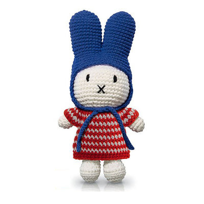 Just Dutch Miffy – Red Small Striped Dress and Blue Hat