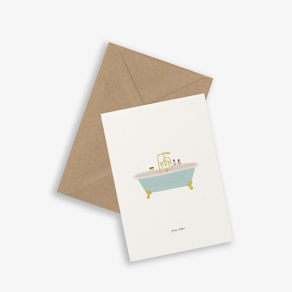 Kartotek Copenhagen Greeting Card - Bath Tub