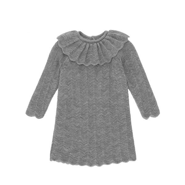 Konges Sløjd Fiol Collar Wool Knit Dress – Light Grey Melange