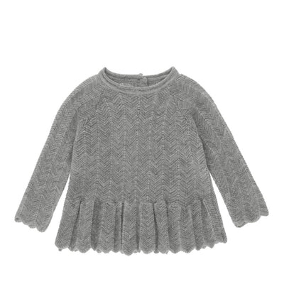 Konges Sløjd Fortun Frill Wool Blouse Pointelle – Light Grey Melange