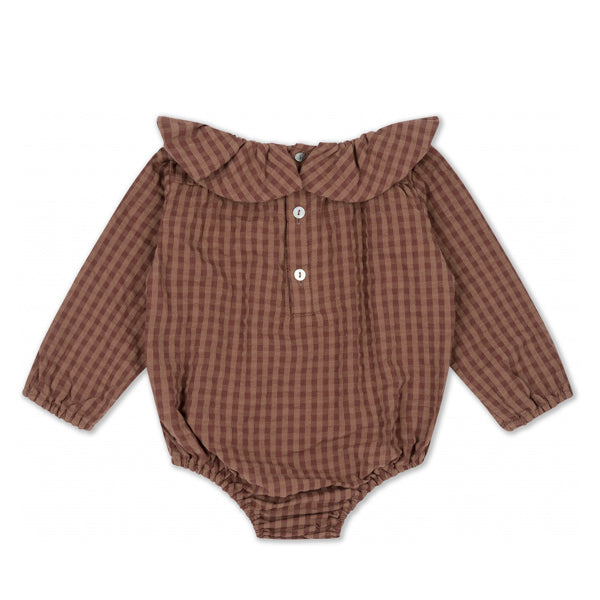 Konges Sløjd ADINE Collar Romper - Brown Check