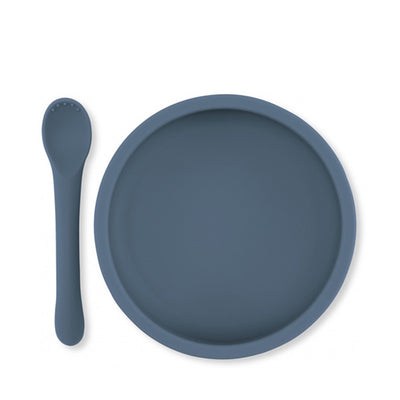 Konges Sløjd Bowl & Spoon Silicone Set - Blue
