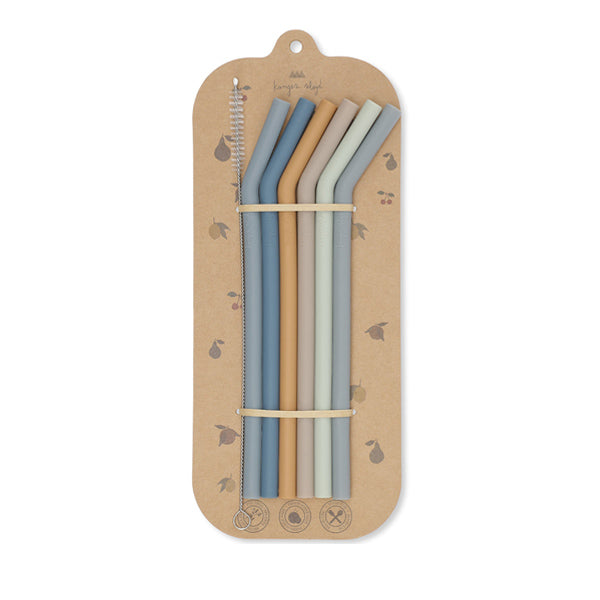 Konges Sløjd Silicone Straws 6 pieces - Blue mix