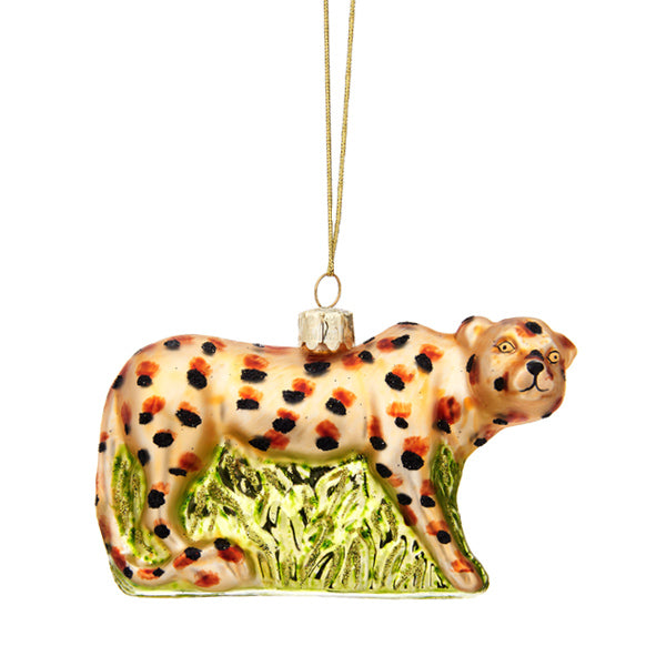 Glass Shaped Christmas Bauble - Leopard