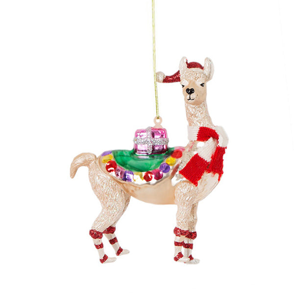 Glass Shaped Christmas Bauble - Llama
