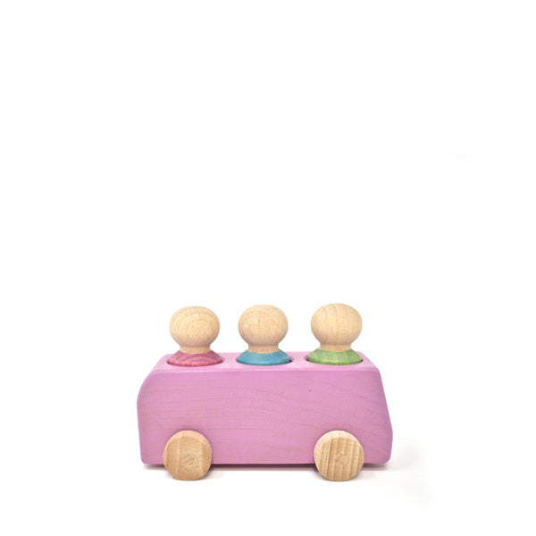 Lubulona Wooden Toy Bus - Pink
