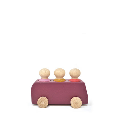 Lubulona Wooden Toy Bus - Plum