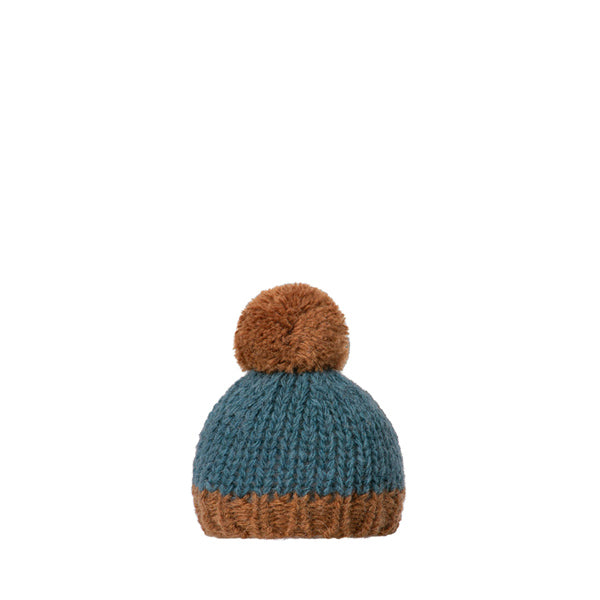 Maileg Best Friends, Knitted Hat - Petrol/Brown