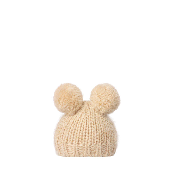 Maileg Best Friends, Knitted Hat with 2 Pompom - Cream