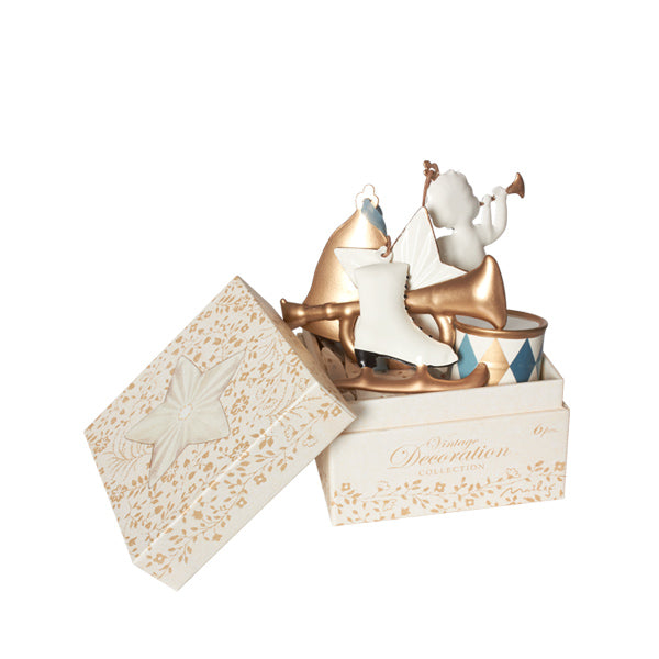 Maileg 6 Ornaments in Box – Gold/White