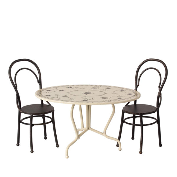 Maileg Dining Table Set, Mini - Anthracite
