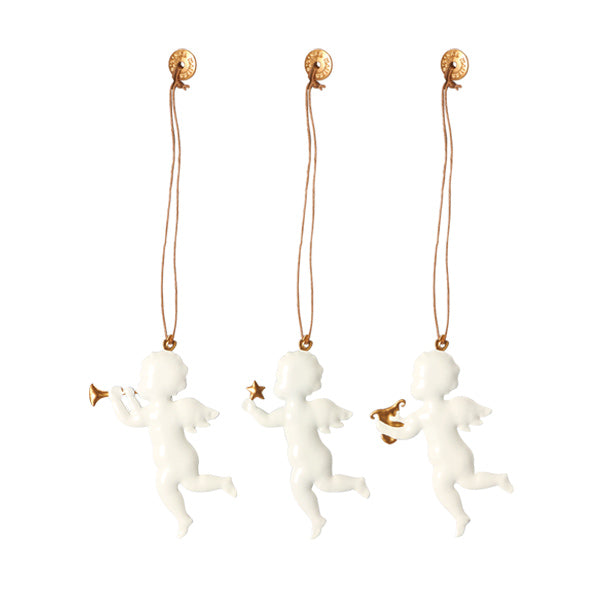 Maileg Metal Angel White Ornament - Set of 3
