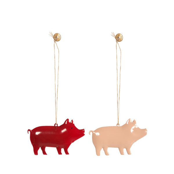 Maileg Metal Pig Ornament - Set of 2