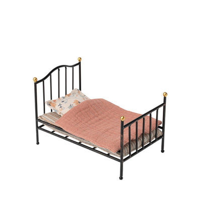 Maileg Metal Vintage Bed, Mouse - Anthracite