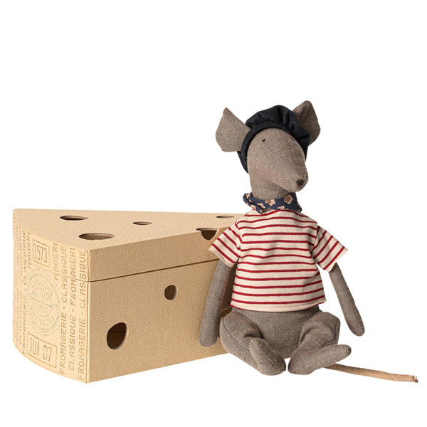 Maileg Rat in Cheese Box - Grey