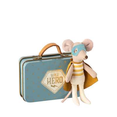 Maileg Superhero Mouse - Little Brother In Metal Suitcase