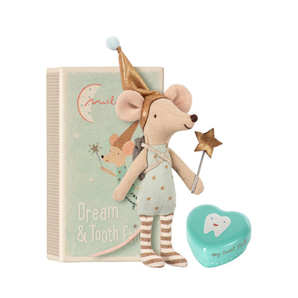 Maileg Tooth Fairy in Matchbox - Big Brother Mouse with Metal Box