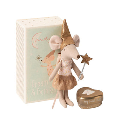 Maileg Tooth Fairy in Matchbox - Big Sister Mouse with Metal Box