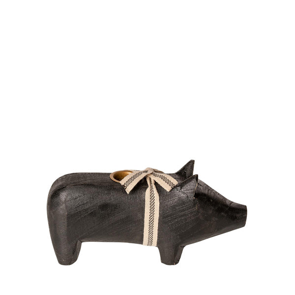 Maileg Wooden Pig Candle Holder - Medium - Black
